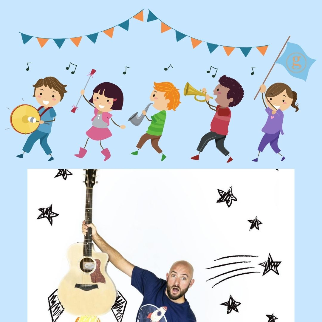 Kids in a marching band, Man with a guitar