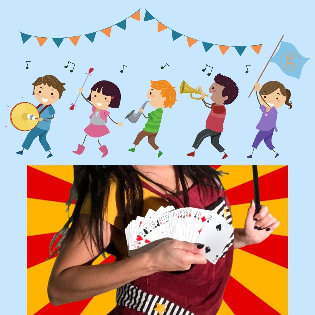 Kids in a marching band, Woman with a hand full of cards