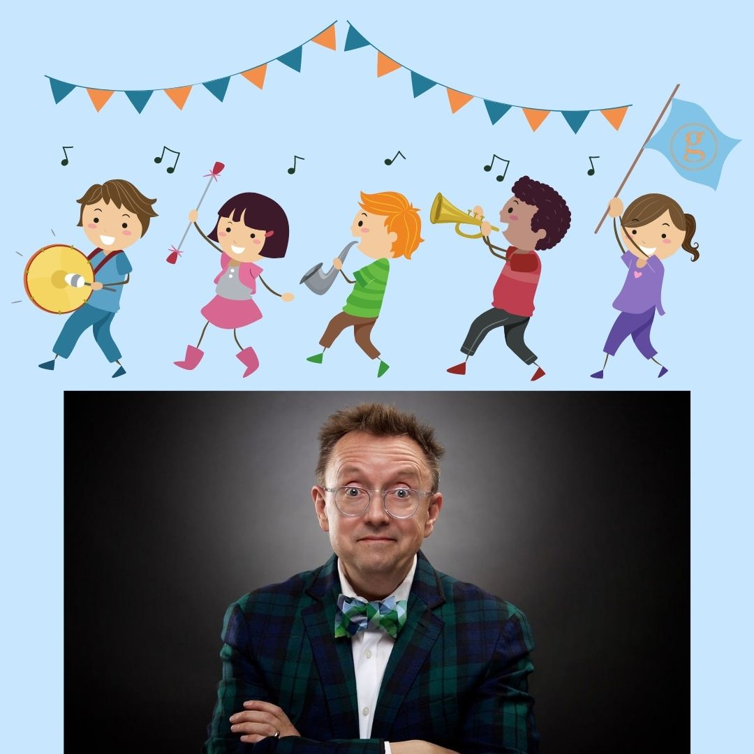 Kids in a marching band, host wearing plaid suit
