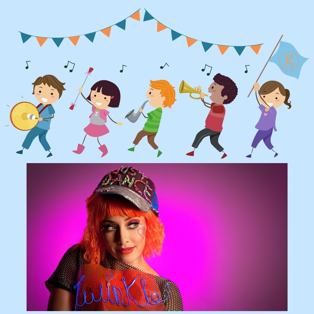 Kids in a marching band, woman with orange hair